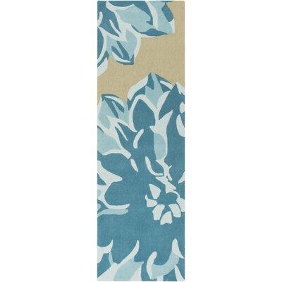 Butner Hand-Tufted Beige/Blue Area Rug Rug Size: Runner 26 x 8