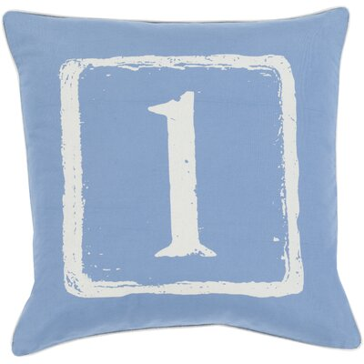Cotton Throw Pillow Number: 1, Size: 18 H x 18 W x 4 D, Color: Beige/Cobalt