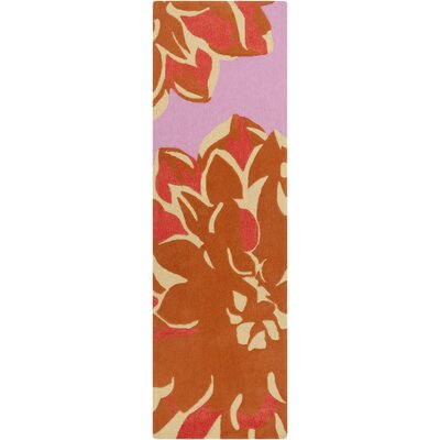 Budding Hand-Tufted Purple/Orange Area Rug Rug Size: Runner 26 x 8