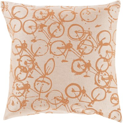 Ellen Bicycle Print Throw Pillow Size: 18 H x 18 W x 4 D, Color: Rust / Ivory, Filler: Down