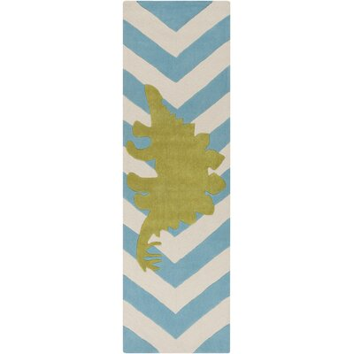 Bret Hand-Tufted Blue/White Area Rug Rug Size: Runner 26 x 8