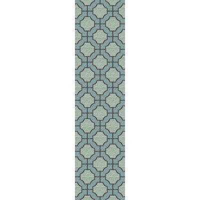 Brian Moss/Blue Geometric Area Rug Rug Size: Runner 26 x 8