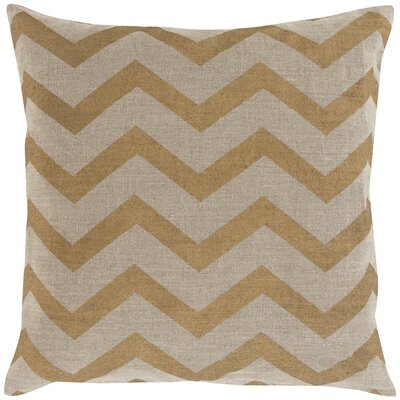 Wave Linen Throw Pillow Size: 18 H x 18 W x 4 D, Color: Gold / Beige, Filler: Polyester
