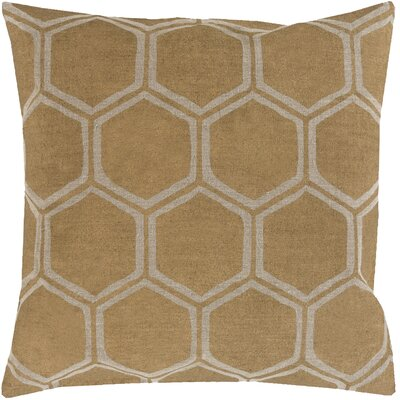 Linen Throw Pillow Size: 22 H x 22 W x 4 D, Color: Gold/Beige, Filler: Down