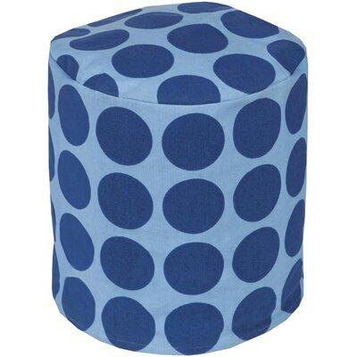 Chelsie Cotton Pouf Ottoman Upholstery: Cobalt/Slate