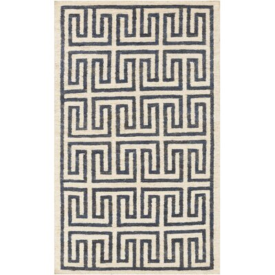 Clarke Beige/Navy Area Rug Rug Size: Rectangle 5 x 8