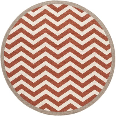 Breana Cherry/Ivory Indoor/Outdoor Area Rug Rug Size: Round 89