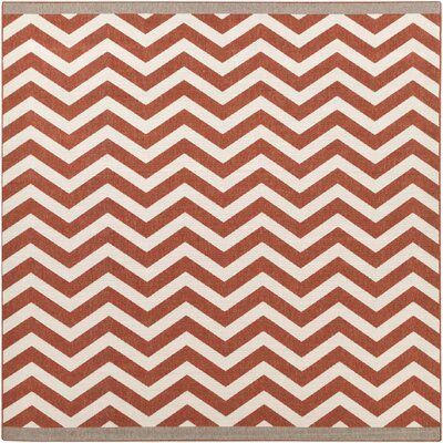 Breana Cherry/Ivory Indoor/Outdoor Area Rug Rug Size: Square 89