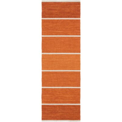 Calvin Rust Striped Area Rug Rug Size: Runner 2'6