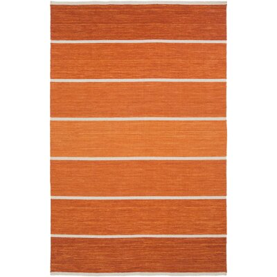 Calvin Rust Striped Area Rug Rug Size: 3'6