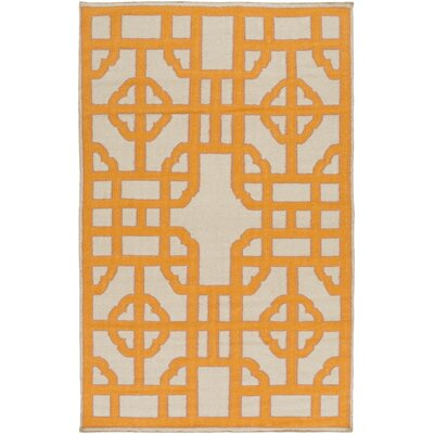Elsmere Beige/Orange Geometric Area Rug Rug Size: Rectangle 5 x 8