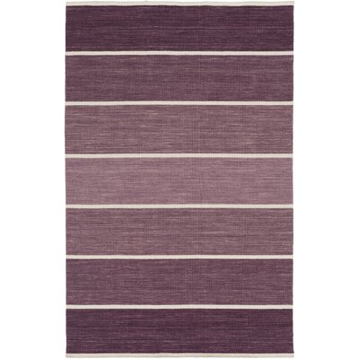 Carressa Hand-Woven Eggplant/White Area Rug Rug Size: Rectangle 5 x 8