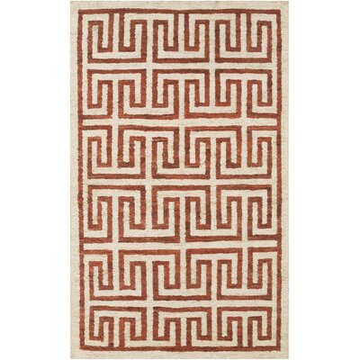 Clarke Beige/Cherry Area Rug Rug Size: Rectangle 5 x 8