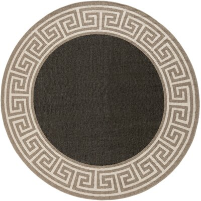 Pearce Black/Tan Indoor/Outdoor Area Rug Rug Size: Round 53