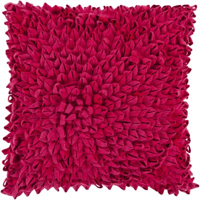 Berryville Throw Pillow Size: 22 H x 22 W x 4 D, Color: Magenta, Filler: Down