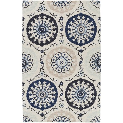 Quaker Ivory/Navy Area Rug Rug Size: Rectangle 5 x 8