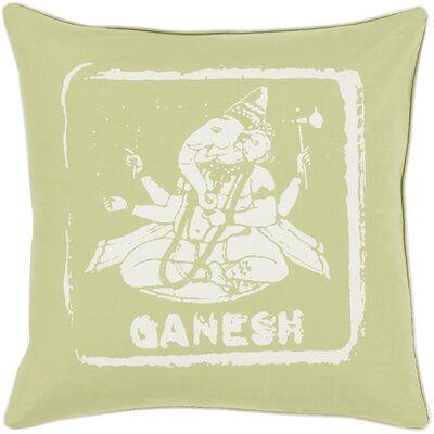 Cotton Throw Pillow Size: 18 H x 18 W x 4 D, Color: Ivory/Lime, Filler: Down