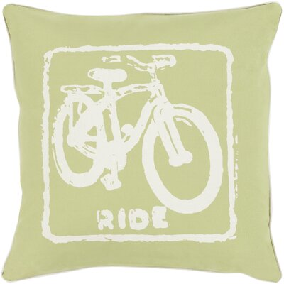 Andrea Bike Ride Cotton Throw Pillow Size: 20 H x 20 W x 5 D, Color: Ivory / Lime, Filler: Polyester