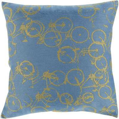 Bicycle Print Throw Pillow Size: 20 H x 20 W x 4 D, Color: Slate / Lime, Filler: Polyester