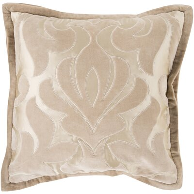 Cotton Throw Pillow Size: 18 H x 18 W x 4 D, Color: Taupe, Filler: Polyester