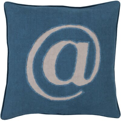 Griffith Linen Text Throw Pillow Size: 18 H x 18 W x 4 D, Color: Blue, Filler: Down