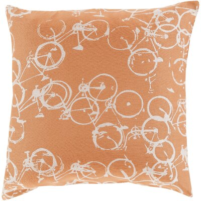 Bicycle Print Throw Pillow Color: Rust / Ivory, Size: 22 H x 22 W x 4 D, Filler: Down