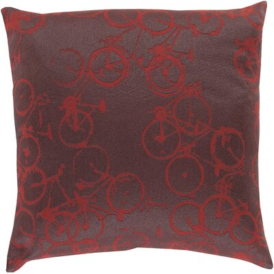 Bicycle Print Throw Pillow Size: 20 H x 20 W x 4 D, Color: Burgundy / Charcoal, Filler: Polyester