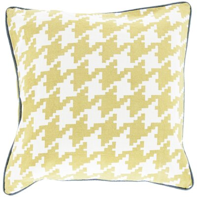 Allendale Cotton Throw Pillow Size: 22 H x 22 W x 4 D, Color: Lime, Filler: Down