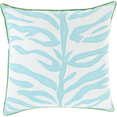 Eugenia Zebra Throw Pillow Size: 22 H x 22 W x 4 D, Color: Aqua, Filler: Down