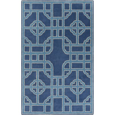 Eugenie Hand-Tufted Cobalt Geometric Area Rug Rug Size: 2 x 3
