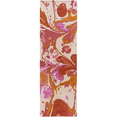 Brees Hand Tufted Wool Orange/Pink Area Rug Rug Size: Runner 26 x 8