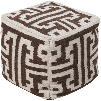 Mars Hill Geometric Pouf Upholstery: Brown / Winter White