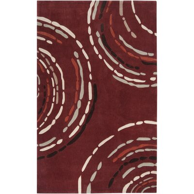 Theia Modern Hand-Tufted Garnet/Black Area Rug