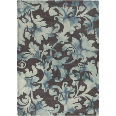 Sampson Charcoal Damask Rug Rug Size: Rectangle 33 x 53