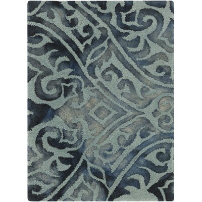 Berradi Teal Damask Rug Rug Size: Rectangle 2 x 3