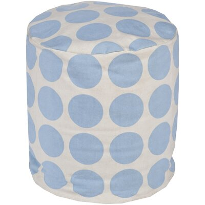 Chelsie Cotton Pouf Ottoman Upholstery: Sky Blue/Ivory