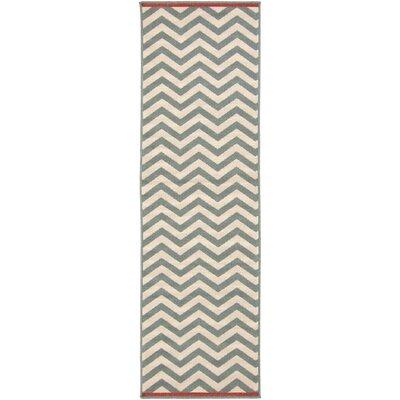 Breana Ivory/Moss Indoor/Outdoor Area Rug Rug Size: Runner 23 x 79
