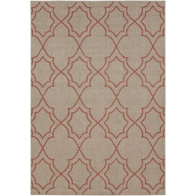 Amato Beige/Red Indoor/Outdoor Area Rug Rug Size: Rectangle 89 x 129