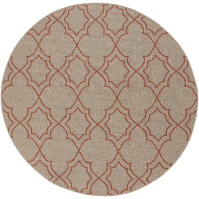 Amato Beige/Red Indoor/Outdoor Area Rug Rug Size: Round 53