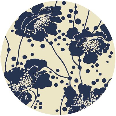 Bunn Navy/Ivory Indoor/Outdoor Area Rug Rug Size: Round 8