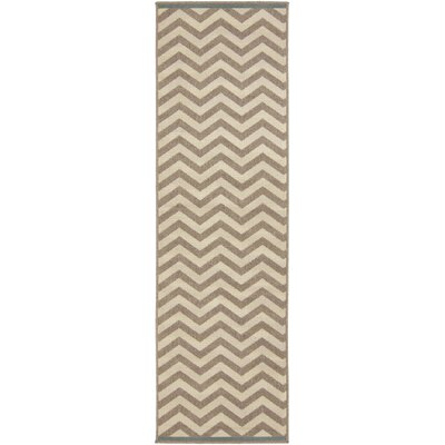 Breana Ivory/Taupe Indoor/Outdoor Area Rug Rug Size: Runner 23 x 79