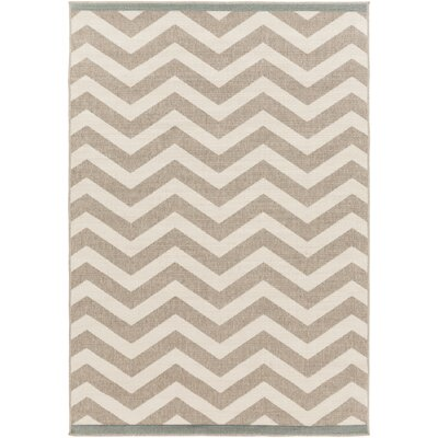 Breana Ivory/Taupe Indoor/Outdoor Area Rug Rug Size: 53 x 76