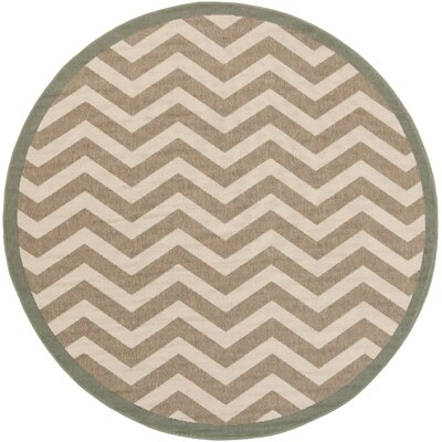 Breana Ivory/Taupe Indoor/Outdoor Area Rug Rug Size: Round 73