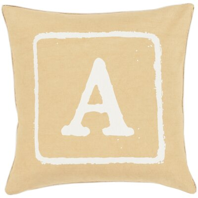 Isabelle Cotton Throw Pillow Size: 18 H x 18 W x 4 D, Color: Ivory/Gold, Letter: A