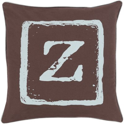 Isabelle Cotton Throw Pillow Size: 22 H x 22 W x 4 D, Color: Slate/Brow, Letter: Z
