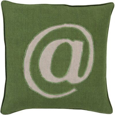 Linen Text Throw Pillow Size: 20 H x 20 W x 4 D, Color: Green, Filler: Down