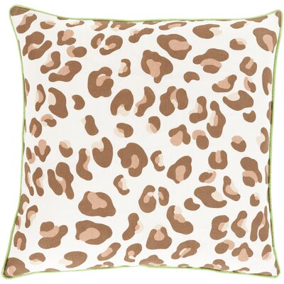 Rushden Leopard Throw Pillow Size: 22 H x 22 W x 4 D, Color: Sea Foam / Mocha, Filler: Down