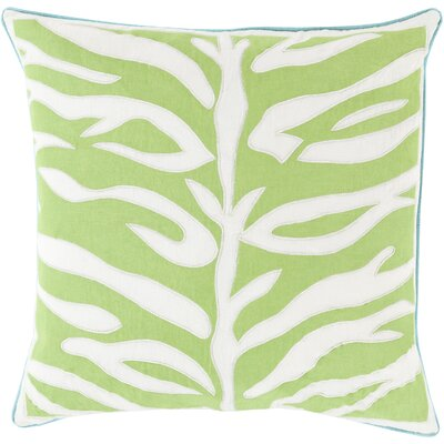 Eugenia Zebra Throw Pillow Size: 22 H x 22 W x 4 D, Color: Lime, Filler: Down