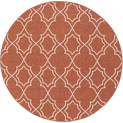 Amato Red Indoor/Outdoor Area Rug Rug Size: Round 53