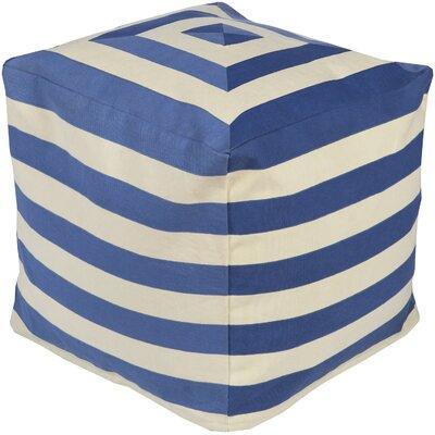 Southington Pouf Ottoman Upholstery: Beige/Cobalt